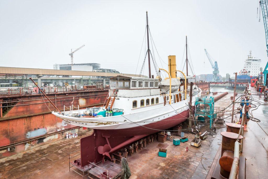 Dampfschiff Schaarhörn in der Werft