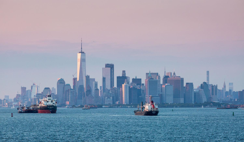 Sonnenuntergang in New York mit Blick auf Manhattan